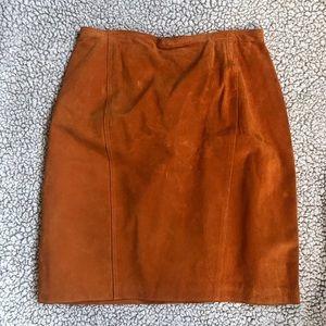 BRANDON THOMAS | Vintage Orange 100% Leather Skirt